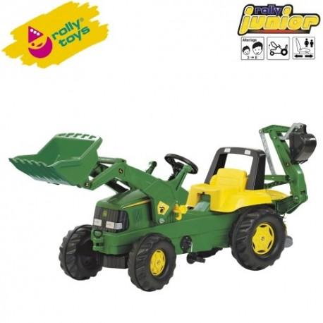 Rolly Toys Detský šlapací traktor Junior John Deere s lyžicou a s bagrom