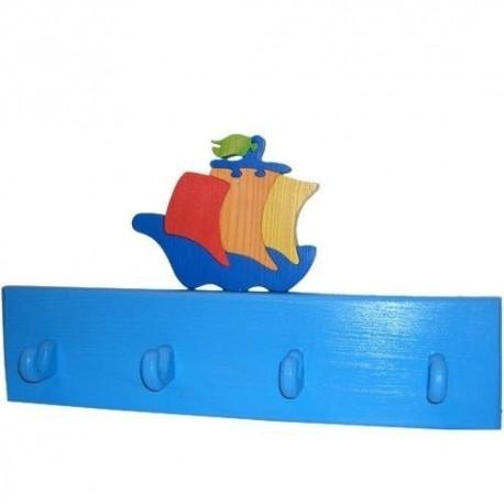 Detský vešiak - loďka modrá