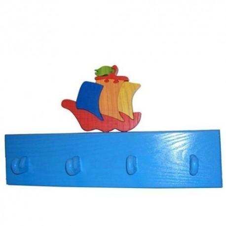 Detský vešiak - loďka červená