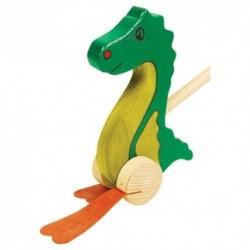 Drevená hračka na tlačenie - Drak