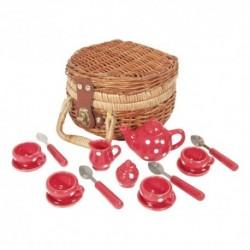 Detská porcelánová čajová súprava - malá v okrúhlom košíku