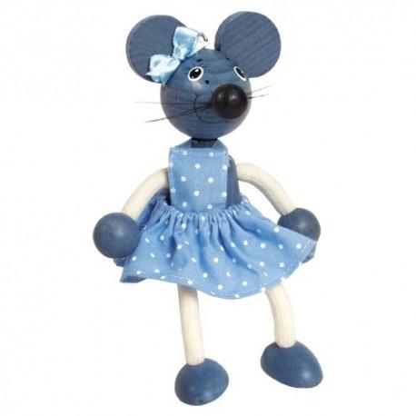 Drevená figúrka na pružinke - Myška dievčatko
