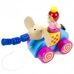 Drevená hračka na ťahanie - princezná so sloníkom