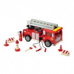 Drevené hasičské auto s doplnkami