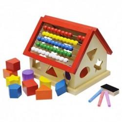 Drevený domček na vkladanie tvarov s počítadlom