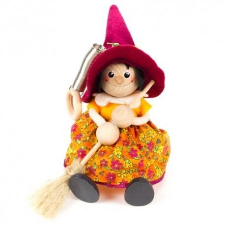 Drevená figúrka na pružinke - Bosorka s bordovým klobúkom