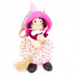Drevená figúrka na pružinke - Bosorka s ružovým klobúkom