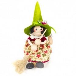 Drevená figúrka na pružinke - Bosorka so zeleným klobúkom