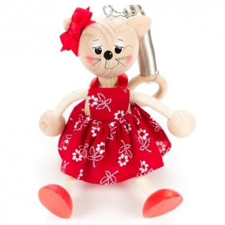 Drevená figúrka na pružinke - Mačička v červených šatách