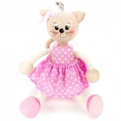 Drevená figúrka na pružinke - Mačička v ružových šatách