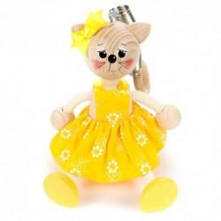 Drevená figúrka na pružinke - Mačička v žltých šatách