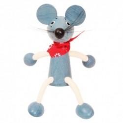 Drevená figúrka na pružinke - Myška chlapček