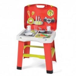 SMOBY prenosná detská kuchynka Take Away v kufríku + 20 doplnkov