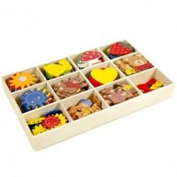 Drevené dekorácie v krabičke - 144 kusov