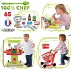 ÉCOIFFIER detský zeleninový stánok s pokladňou a nákupným vozíkom 100% Chef + 65 doplnkov