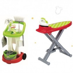 ÉCOIFFIER detská žehliaca doska s upratovacím vozíkom a s 10 doplnkami