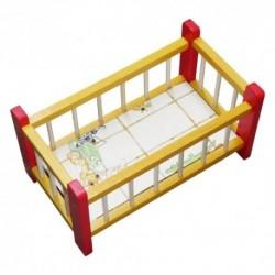 Postieľka pre bábiky malá - žlto-červená
