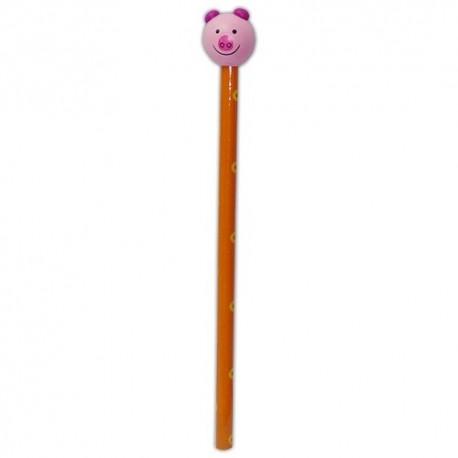 Drevená ceruzka so zvieracou hlavou - Prasiatko