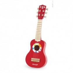 JANOD detská drevená gitara červená