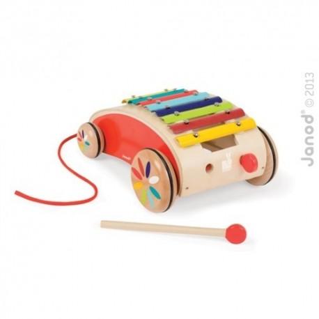 JANOD detský drevený vozík - xylofón na ťahanie