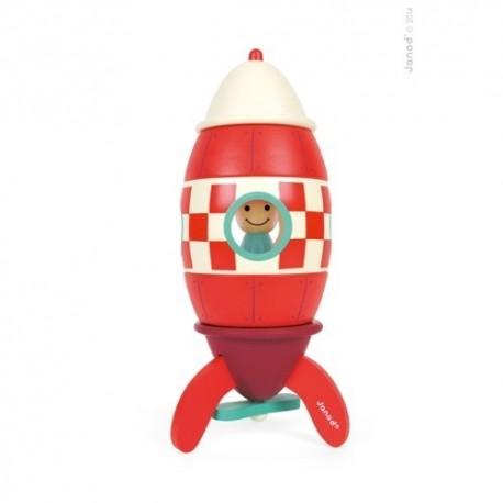 JANOD detská drevená magnetická skladačka Kit Magnet raketa - stredne-veľká