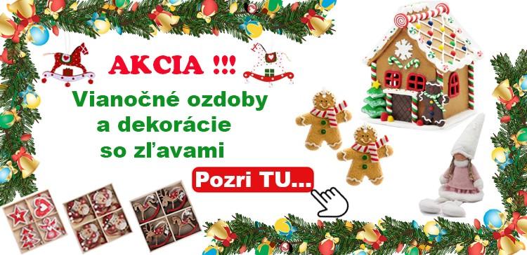 Vianočné ozdoby a dekorácie zľava
